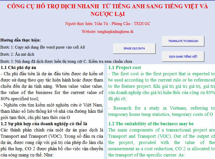 Sử dụng exel làm công cụ dịch thuật ngôn ngữ