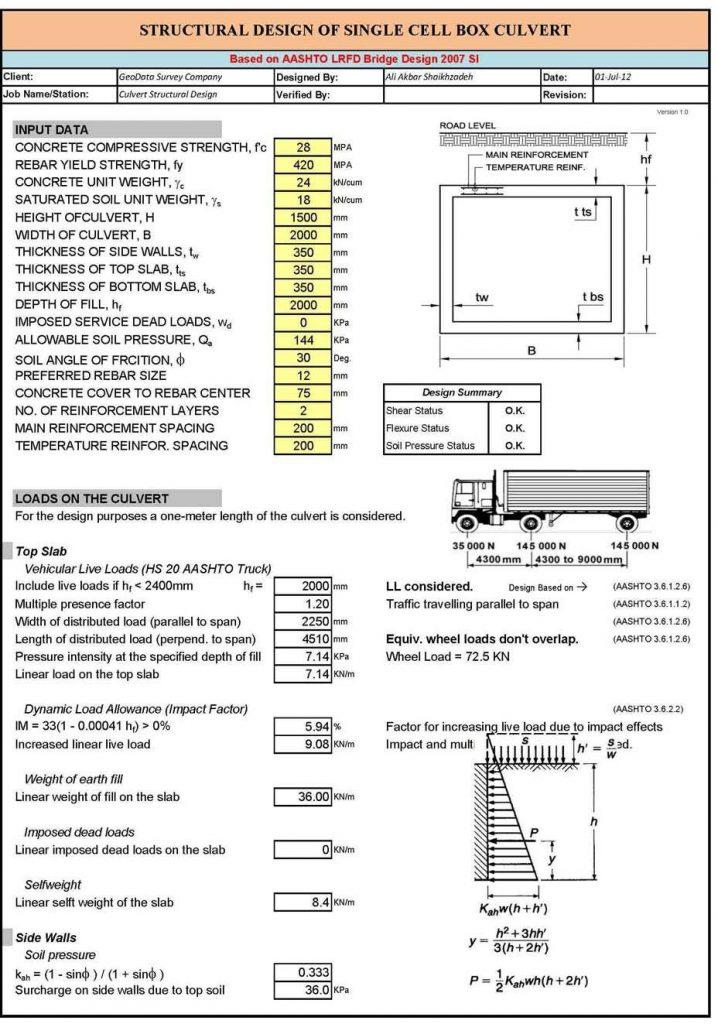 Bảng tính cống hộp theo AASHTO 2007
