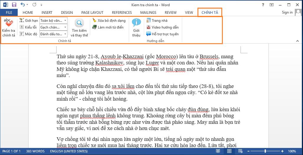 Phần mềm kiểm tra chính tả tiếng Việt trong word