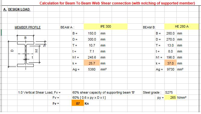 Bảng tính kiếm toán cắt mối nối - shear connection