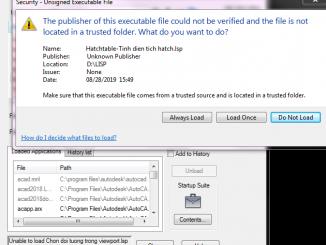 Tắt cảnh báo khi load lisp trong autocad đời cao