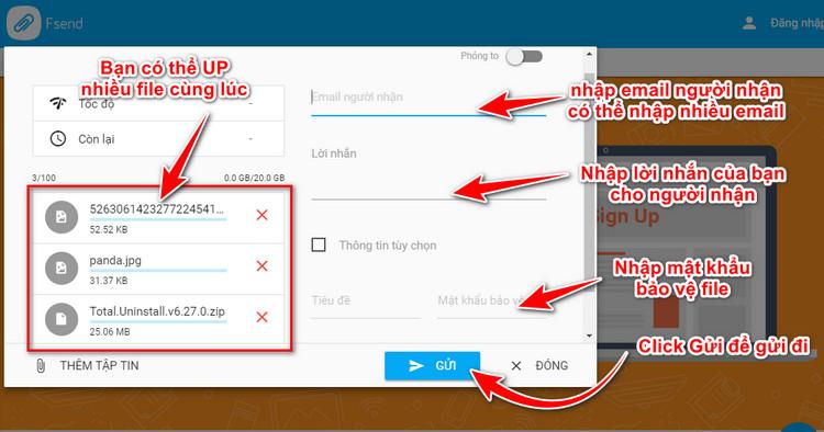 FSEND - dịch vụ cho phép upload và send file miễn phí lên tới 20G