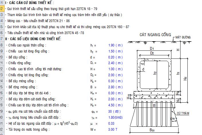 Bảng tính móng cọc tre theo quy trình 79