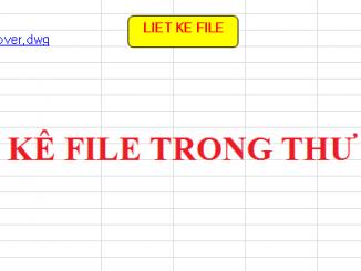 Sử dụng excel liệt kê các file trong thư mục