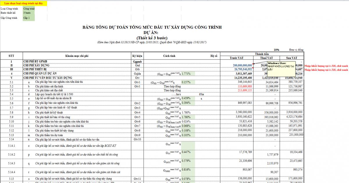 Tài liệu-file tính Tổng mức đầu tư Dự án