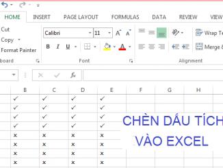 Excel-Cách thêm biểu tượng dấu tích