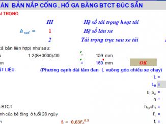 Bảng tính nắp hố ga, nắp cống, nắp rãnh dọc theo TCVN11823